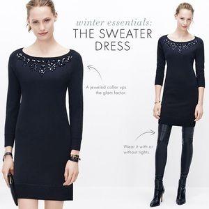 Ann Taylor Jeweled Neck Sweater Dress